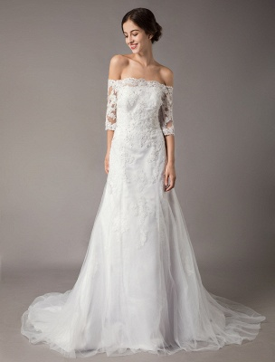 Wedding Dresses Ivory Lace Off Shoulder Half Sleeve Sequin Applique Bridal Dress With Train Exclusive_2