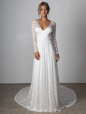 Ivory Lace Wedding Dress Chapel Train A-Line Long Sleeves Lace V-Neck Long Bridal Gowns_1