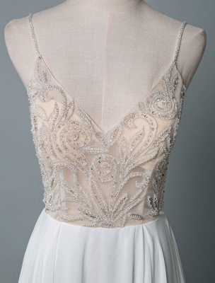 Simple Wedding Dress A Line V Neck Sleeveless Embroidered Chiffon Bridal Dresses With Train_4