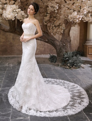 Wedding Dresses Mermaid Strapless Bridal Gown Lace Applique Beading Waist Sweetheart Neck Court Train Wedding Gown_2