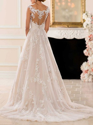 Wedding Dresses A Line V Neck Sleeveless Lace Illusion Back Bridal Gowns_4