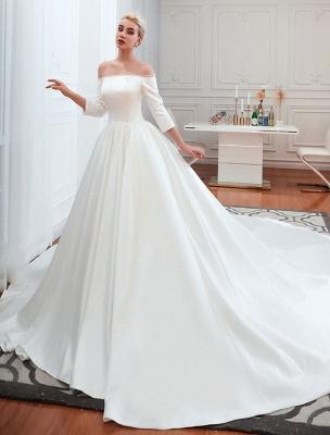 Vintage Brautkleid 2021 Satin 3/4 Ärmel schulterfrei bodenlangen Brautkleider mit Kapelle Zug_1