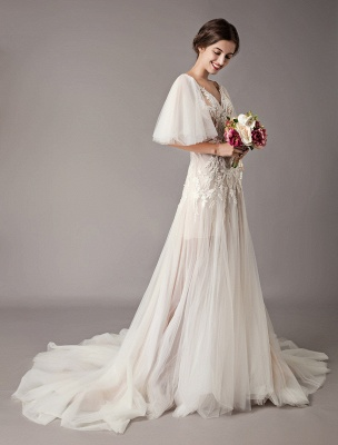 Boho Wedding Dresses Tulle Lace V Neck Butterfly Sleeve Backless Summer Beach Bridal Gowns_4