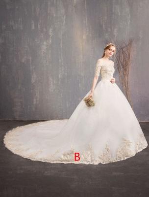 Tulle Wedding Dress Off The Shoulder Half Sleeve Princess Bridal Gown_2