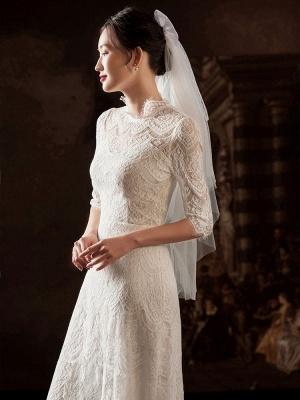 Weißes einfaches Brautkleid A-Linie Jewel Neck Half Sleeves Lace Tee Länge Brautkleider_3