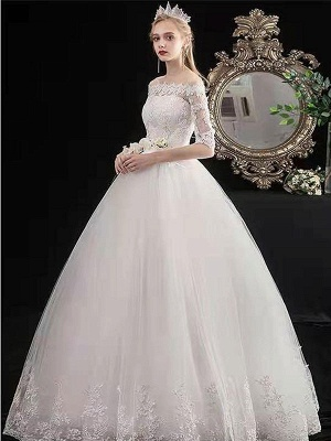Stylish Wedding Dresses Eric White Off The Shoulder Half Sleeves Ball Gown Soft Tulle Lace Up Floor Length Bride Dresses_3