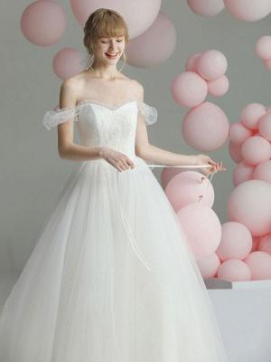 Ballkleid Brautkleid Prinzessin Silhouette Schatz-Ausschnitt Kurze Ärmel Baskische Taille Kapelle-Schleppe Brautkleider_4