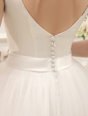Simple Wedding Dresses Satin Square Neck Applique Short Bridal Dress With Beading Bow Sash Exclusive_6