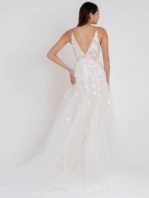 White Wedding Dress Chapel Train A-Line Sleeveless Matte Satin V-Neck Lace Tulle Bridal Dresses_2