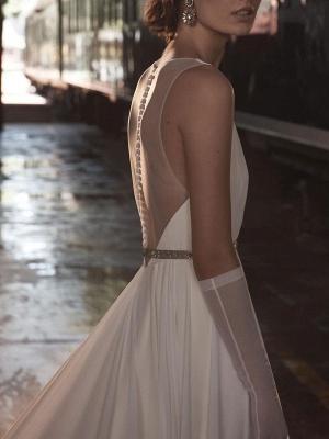Wedding Dress Deep V-Neck Beaded Sash Chiffon Bridal Dress_7