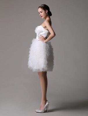 Robe de mariée courte en satin sans bretelles avec jupe fatiguée en tulle_5
