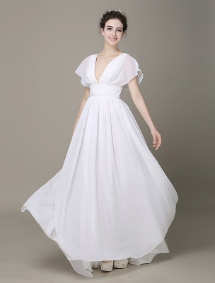 Plunging Chiffon Beach Wedding Dress A-Line Ivory V-Neck Pleated Belt Short Sleeves Bridal Dress With Court Train Exclusive_1