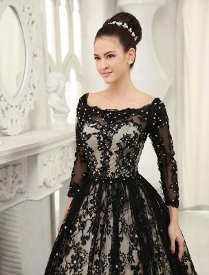 Black Wedding Dress A-Line Scoop Neck Sequin Chapel Train Lace Wedding Gown Exclusive_5