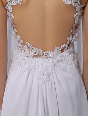 Empire Chiffon V-Ausschnitt Brautkleid mit Illusion Rücken und Blumenapplikation Exklusiv_8