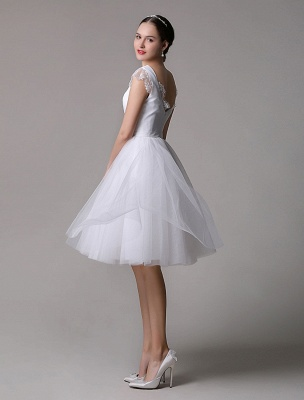 Simple Wedding Dresses Tulle Scoop Neck Knee Length Short Bridal Dress With Lace Cap Sleeves_6