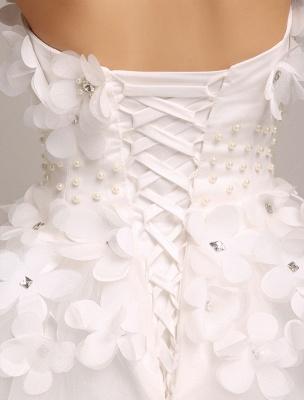 Elfenbein Brautkleider Prinzessin Ballkleider Brautkleid 3D Blumen Trägerlos Perlen Frauen Festzug Kleider_5