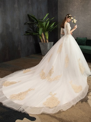 Princess Wedding Dress Ivory Lace Appilque V Neck Half Sleeve Bridal Gown With Train_4