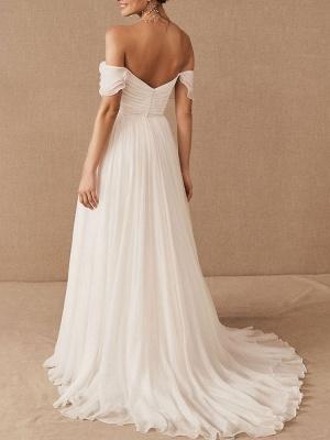 White Bridal Dress A-Line Bateau Natural Waistline Chiffon Back Zipper Floor Length Wedding Dress_2