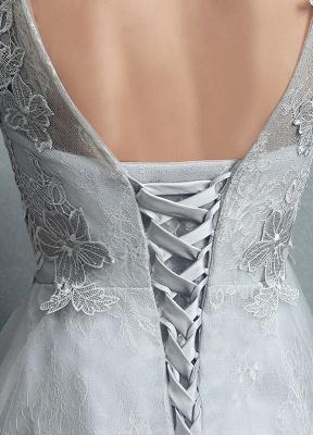 Robes de mariée d'été 2021 dentelle grise appliques Maxi robe de mariée dos nu demi-manches étage longueur robe de mariée_12