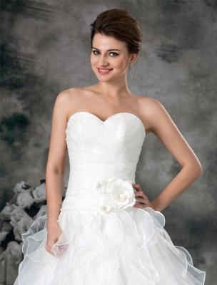 Glamouröses Elfenbein Gerafftes Herzausschnitt A-Linie Brautkleid aus Organza_5