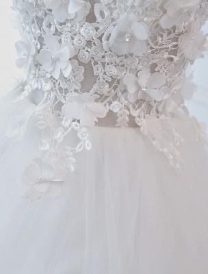 Prinzessin Brautkleider Ballkleider Spitze Blumen Applique Ärmellose Brautkleider Mit Zug_5