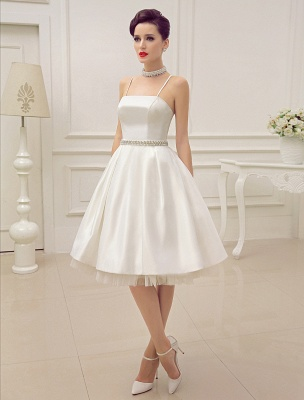 Vintage Spaghetti Straps Backless Satin Short Wedding Dress With Pearls At Waist Exclusive_2