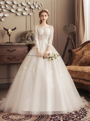 Ivory Wedding Dresses Lace Applique Jewel Neck 3/4 Length Sleeve Princess Bridal Gown With Train_2