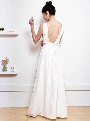 Weißes einfaches Hochzeitskleid Satin Stoff V-Ausschnitt Ärmellose Knöpfe A-Linie Lange Brautkleider_7