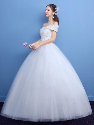 Robe de bal robe de mariée princesse silhouette parole longueur bateau cou manches courtes appliques tulle robes de mariée_6