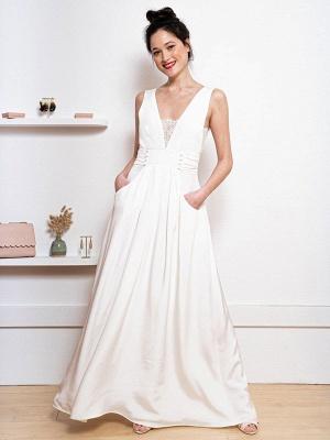 Weißes einfaches Hochzeitskleid Satin Stoff V-Ausschnitt Ärmellose Knöpfe A-Linie Lange Brautkleider_4