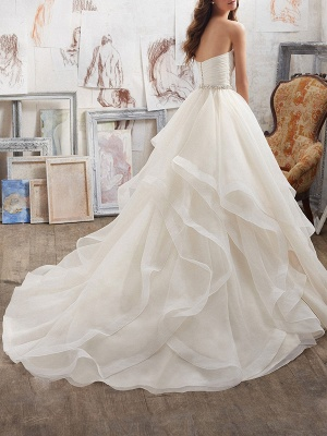 Wedding Dresses 2021 Ball Gown Sweet Heart Sleeveless Floor Length Asymmetry Hem Tulle Bridal Gown_2