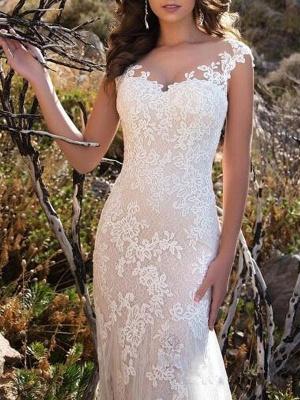 Brautkleid 2021 V-Ausschnitt Meerjungfrau ärmellose Spitzenverzierung Klassische Brautkleider mit Zug_3
