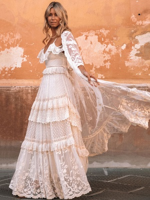 Boho Wedding Dress Suit 2021 V Neck Floor Length Lace Multilayer Bridal Gown Dress And Outfit_4