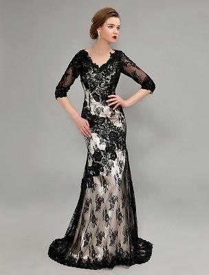 Black Wedding Dress Lace Mermaid V-Neck Dress With 3/4 Sleeves_2
