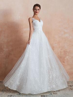 Wedding Dress 2021 A Line V Neck Sleeveless Floor Length Bridal Gowns With Train_6