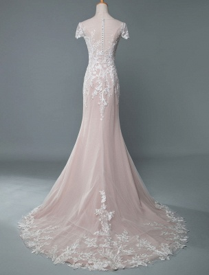 Simple Wedding Dress Mermaid Jewel Neck Short Sleeves Floor Length Customized Lace Bridal Gowns With Train_3