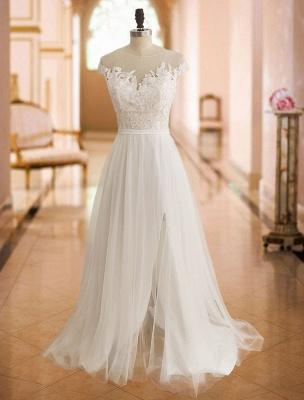 Boho Wedding Dresses 2021 Lace Off The Shoulder Short Sleeve Floor Length Split Front Bridal Dress With Train_3