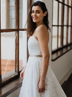 Einfache Brautkleider Brautkleider aus Spitze Trägerlose Brautkleider in A-Linie_4