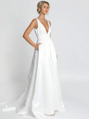Weißes einfaches Hochzeitskleid Satin Stoff V-Ausschnitt ärmellose rückenfreie A-Linie Brautkleider_2