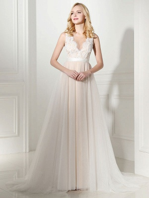 Simple Wedding Dress Tulle Jewel Neck Sleeveless Pearls A Line Bridal Gowns_2