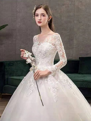 New Vintage Wedding Dresses Eric White Jewel Neck Long Sleeves Natural Waist Satin Fabric Cathedral Train Applique Traditional Dresses For Bride_7