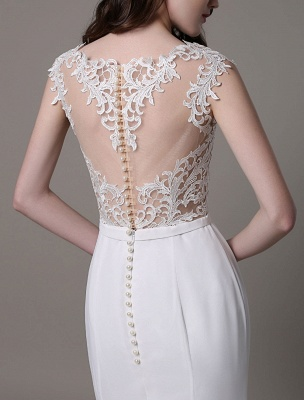 Vintage Wedding Dress Lace And Chiffon Sheath With Stunning Bateau Illusion Neckline And Illusion Back Exclusive_10