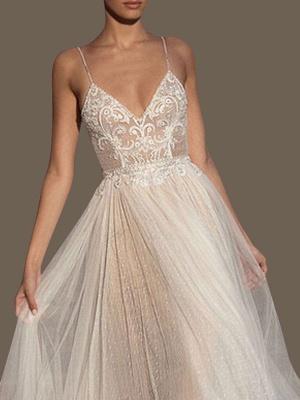 Vestidos de novia Una línea Cuello en V Correas sin mangas Con cuentas Hasta el suelo Vestidos de novia de tul con lunares_2