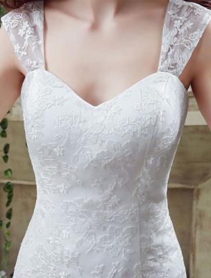 Weißes Brautkleid Queen Anne Mermaid Backless Lace Brautkleid_4