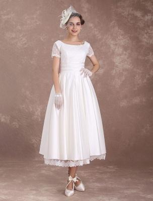 Vintage Wedding Dress Short Sleeve 1950'S Bridal Dress Backless Polka Dot Lace Trim Ivory Wedding Reception Dress Exclusive_4