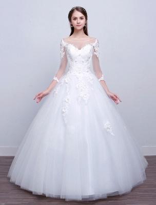 Prinzessin Ballkleid Brautkleider Langarm Spitze Illusion Elfenbein bodenlangen Brautkleid_1