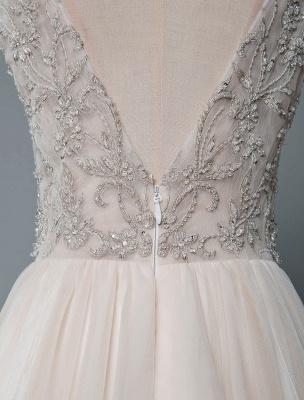 Einfaches Hochzeitskleid A-Linie V-Ausschnitt ärmellose Applikationen Perlen bodenlangen Brautkleider_8