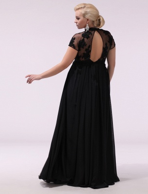 Black Prom Dresses Plus Size Evening Dress Chiffon Lace Applique Illusion Short Sleeves Floor Length Wedding Guest Dress Exclusive_8