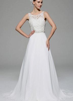 Ivory Wedding Dress Illusion Rhinestone Lace Satin Wedding Gown_2