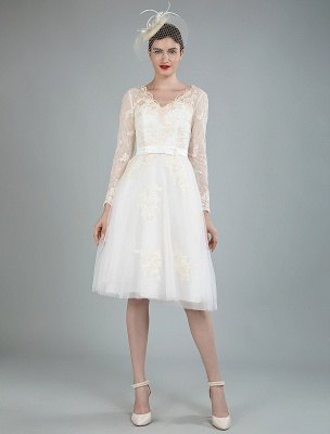 Short Wedding Dress Tulle Knee Length V Neck Long Sleeves A Line Natural Waist Bridal Gowns Exclusive_1
